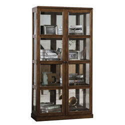 Transitional Wooden Curio Cabinet With Two Glass Doors And Four Shelves, Oak