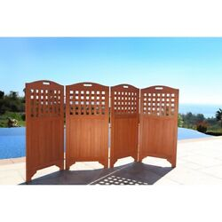 48 Outdoor Acacia Wood Privacy Screen With 4 Panels