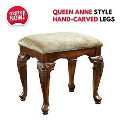 Landing Vanity Bench Queen Anne Style Cabriole Wood Leg Stool Chair Furniture