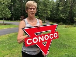 Old Style Conoco Triangle Gas And Oildealer Thick Steel Sign Usa Made Mint