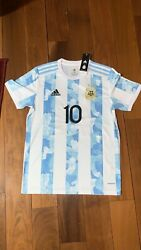 Lionel Messi 10 Argentina Home Color Fast Shipping S-2xl.