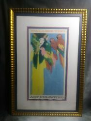 Walasse Ting Framed. Acrylic On Rice Paper Chinese Fortune Teller 1980s