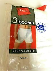 Hanes white boxer shorts new in package 42 44 XL 3 pack