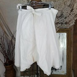 Antique Plus Size Victorian Underwear Bloomers With Lace Trim And Tie Waist.
