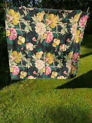 Vtg Fabric For Cushion Tablecloth Large Flowers 3#x27;6quot; X 3#x27;10quot;
