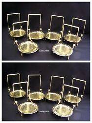 12 Tea Cup And And Saucer Stand Display Brass Etched Base Tripar High Quality
