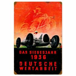1936 German Races Victory Year 24 Heavy Duty Usa Made Metal Advertising Sign