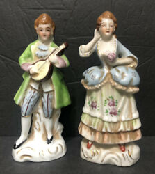 Vtg Antique Occupied Japan Figurines Victorian Man Mandolin And Woman Pair