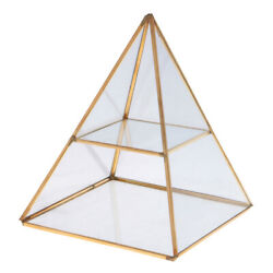 2 Tiers Glass Pyramid Jewelry Stand Display Case With Vintage Style Brass Tone