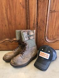 Wwii Military Boots W/ Rrl Hat French Ranger Scout Buckle Army Boots Mens 7