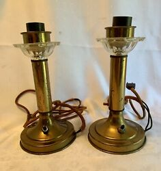 Vintage Pair 2 Brass Candlestick Lamps With Glass Bobeches Cloth Electric Plug