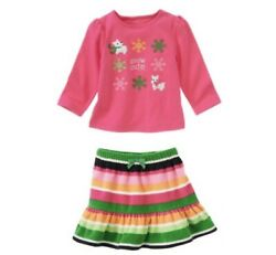 Gymboree Cheery All The Way 3t Outfit Snow Cute Winter Fleece Skirt Top