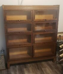 Globe Wernicke Antique Oak Barrister Lawyers Stacking Bookcase Double