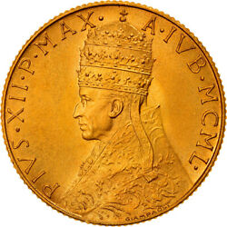 [908066] Coin Vatican City Pius Xii 100 Lire 1950 Ms65-70 Gold Km48