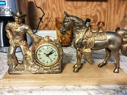 Roy Rogers And Trigger Bronze Clock Self Starting Vintage 1950s Works