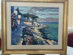 Howard Behrens Original And Numbered Oil Painting Mountains Mediterranean Homes