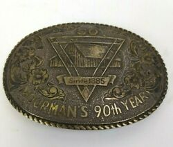 Vintage San Carlos Crumrine Moorman's 90th Year Gold And Sterling Belt Buckle