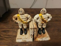 Vintage Cast Iron Michelin Man Bookends Very Rare