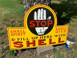 Shell Gasoline/oil Large, Heavy Porcelain Sign 28.5x 19 Near Mint Condition