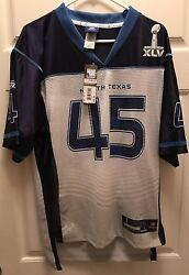 Nfl Super Bowl 45 North Texas Reebok Jersey White/blue-- Size Small/ New Tag