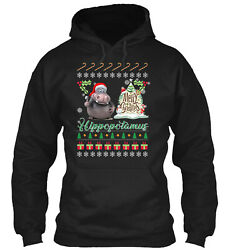 Hippopotamus Ugly Christmas Sweater Classic Pullover Hoodie - Poly/cotton Blend