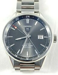 Tag Heuer Carrera Calibre 7 Twin Time Mens Automatic Watch Ss Band War2012