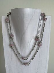 Queen Baby 38 Long 11 Pink Crowned Hearts Sterling Silver Necklace