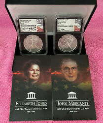 2020 W Burnished Sil. Eagle 2-pc. Set Ngc Ms 70 First Day Issue Mercanti And Jones