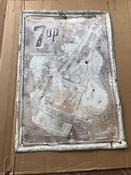 Vintage 7 Up Drink Metal Advertizment Sign Very Old Size Approximately 39 X 27