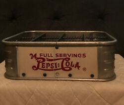 Vtg 1940and039s Pepsi Double Dot Cola Soda Bottle 12 Pack Stadium Carrier Crate