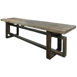 Rustic Style Reclaimed Wood Bench With Intersected Sled Base, Gray ,saltoro