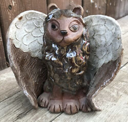 Winged Lion Statue Sitting Figurine 6.5 Inches Tall Clay Sculpture Signed
