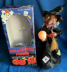 Vintage Telco Animated Witch Halloween Motionette Figure W/skull Woolworth And Box
