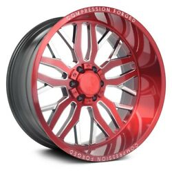 Axe Ax1.2 Compression Forged Wheels 22x14 -76 8x170 125.2 Red Rims Set Of 4