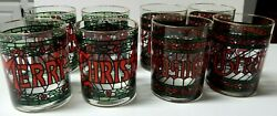 Vintage Cera Houze Merry Christmas Stained Glass Set Of 4 Glasses