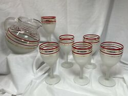 Vintage 1940's Frosted Glass Red And Gold Striped Pitcher Set W/ 6 Stemmed Glasses