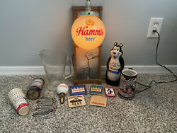 Lot Of Vintage Hamms Beer Collectibles Mug, Pitcher, Sign, Coasters, Etc