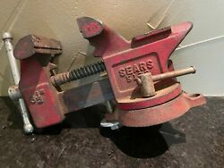 Vintage Sears 3-1/2'' Jaw Swivel Anvil Bench Pipe Vise Cast Iron Vice 5178 Red.