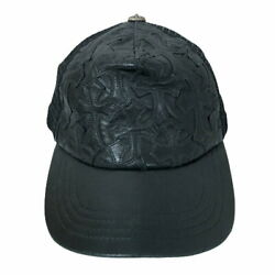Secondhand Chrome Hearts Cap Tracker Razor Cemetery Cross Patch Leather Trucker