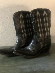 Vintage 1940's - 1950's Acme Peewee Shorty Inlay Cowboy Boots - Size 7 A Men Usa
