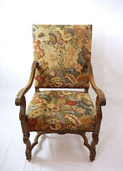 Antique French Louis Xiv Style Walnut Arm Chair - Incredible Tapestry H-426