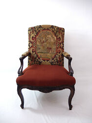 Antique French Louis Xv Style Walnut Arm Chair With Tapestry Upholstery. G-002