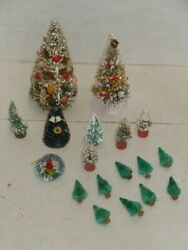 Vintage Bottle Brush Christmas Trees Japan Large And Small Fruit Shells Frosted
