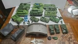 Vintage 50s And 60s Army Tank, Jeep, Vehicle And Bridge Lot - Processed Plastic