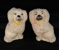 Pair Of Antique Staffordshire Poodles 3 Tall Dog Confetti Figurines