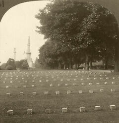 Keystone Stereoview Of Cemetery And Monument, Gettysburg, Pa History Set H141 A