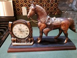 Vntg Sessions Horse Mantle Clock Bronze Tone Empire Style Arabic Numerals Works