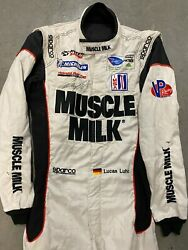 Lucas Luhr,signed, 2013 Muscle Milk, Alms Championship, Race Used,drivers Suit
