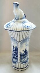 Swaine Delft Porcelain Blue And White Windmill Church Otter Octagon 11 Vase And Lid