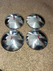Vintage Pontiac Gto Factory Set Of 4 Baby Moon Chrome Hubcaps 10.5great